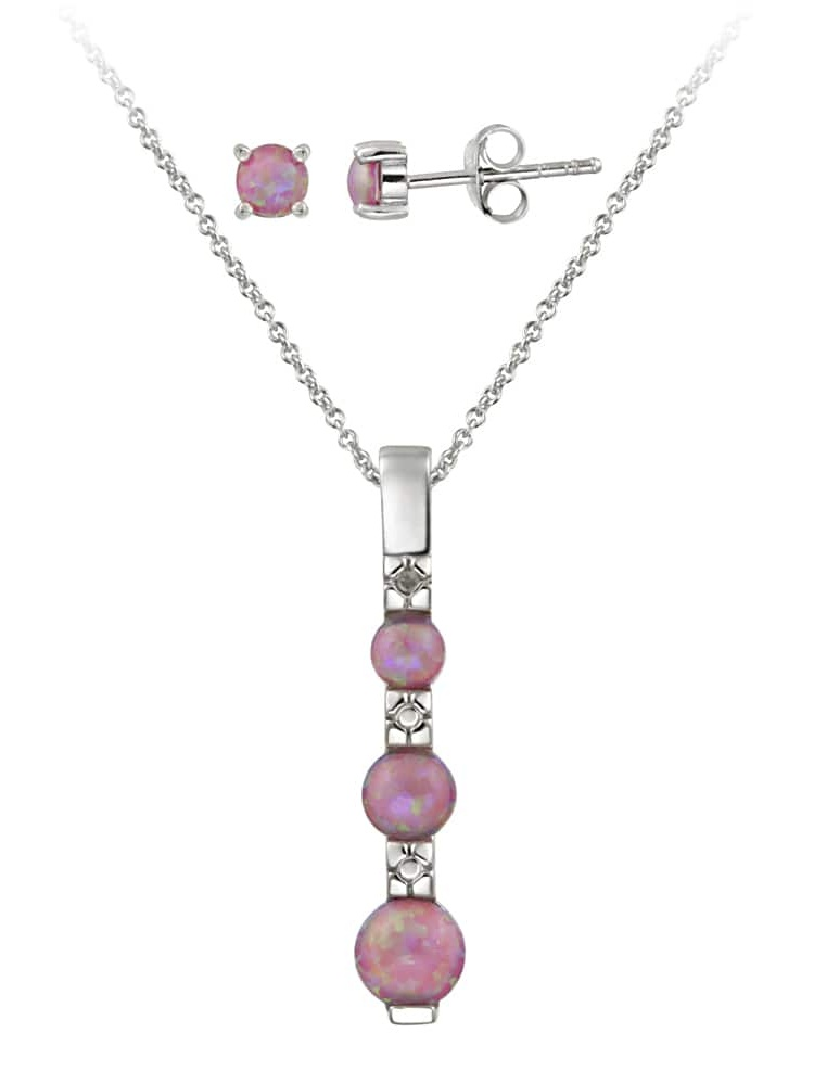 Silver Diamond Accent Created Pink Opal Past Present Future Jewelry Set