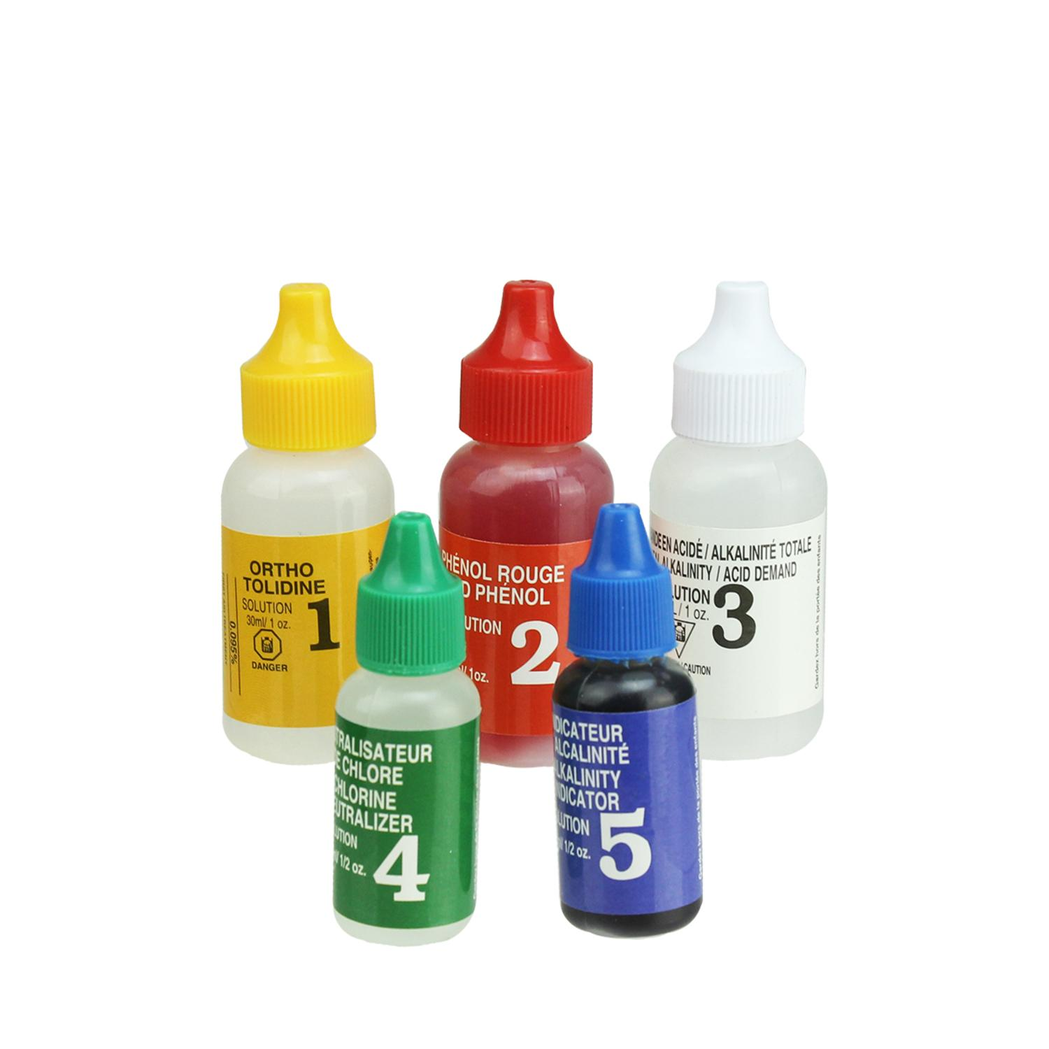 5-Piece Test Kit Replacement Refill Bottles for Swimming Pools