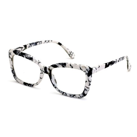Women Big Lens Butterfly Reading Glasses - Fun Cateye Clear Lens Readers - Vintage Fashion (Big Reading Glasses Vintage)