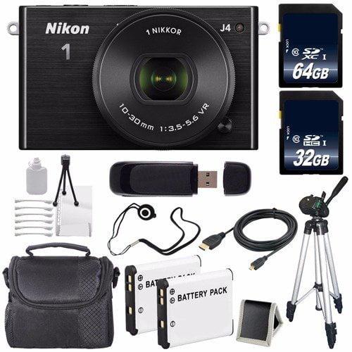 Nikon 1 J4 Mirrorless Digital Camera with 10-30mm Lens (Black) (International Model No Warranty) + EN-EL22 Battery + 96GB Total Memory + 6AVE Bundle