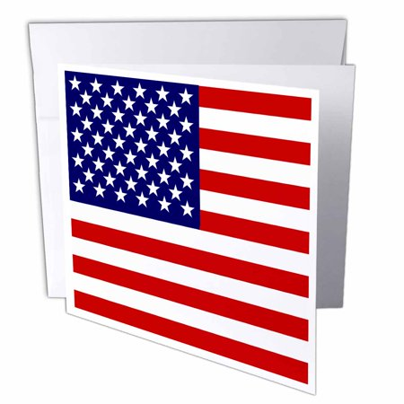 3dRose American Flag - Patriotic USA stars and stripes red white and blue - 4th July America Patriot, Greeting Cards, 6 x 6 inches, set of 12