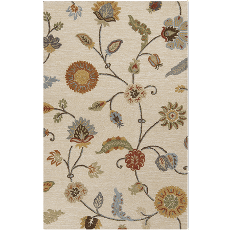 3 25 X 5 25 Breezy Garden Light Tan And Olive Green Hand Tufted Area Throw Rug