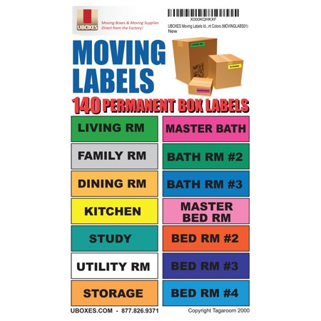 Uboxes Moving Labels, Multi-Colored, 140-Count, 14 Different Labels](Colored Labels)