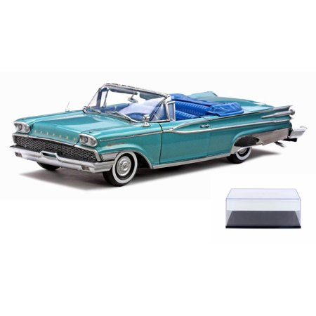 Diecast Car & Display Case Package - 1959 Mercury Park Lane Convertible, Turquoise - Sun Star 5151 - 1/18 Scale Diecast Model Toy Car w/Display Case