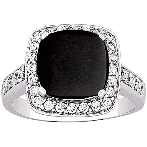 Cushion-Cut Onyx and CZ Ring in Sterling Silver