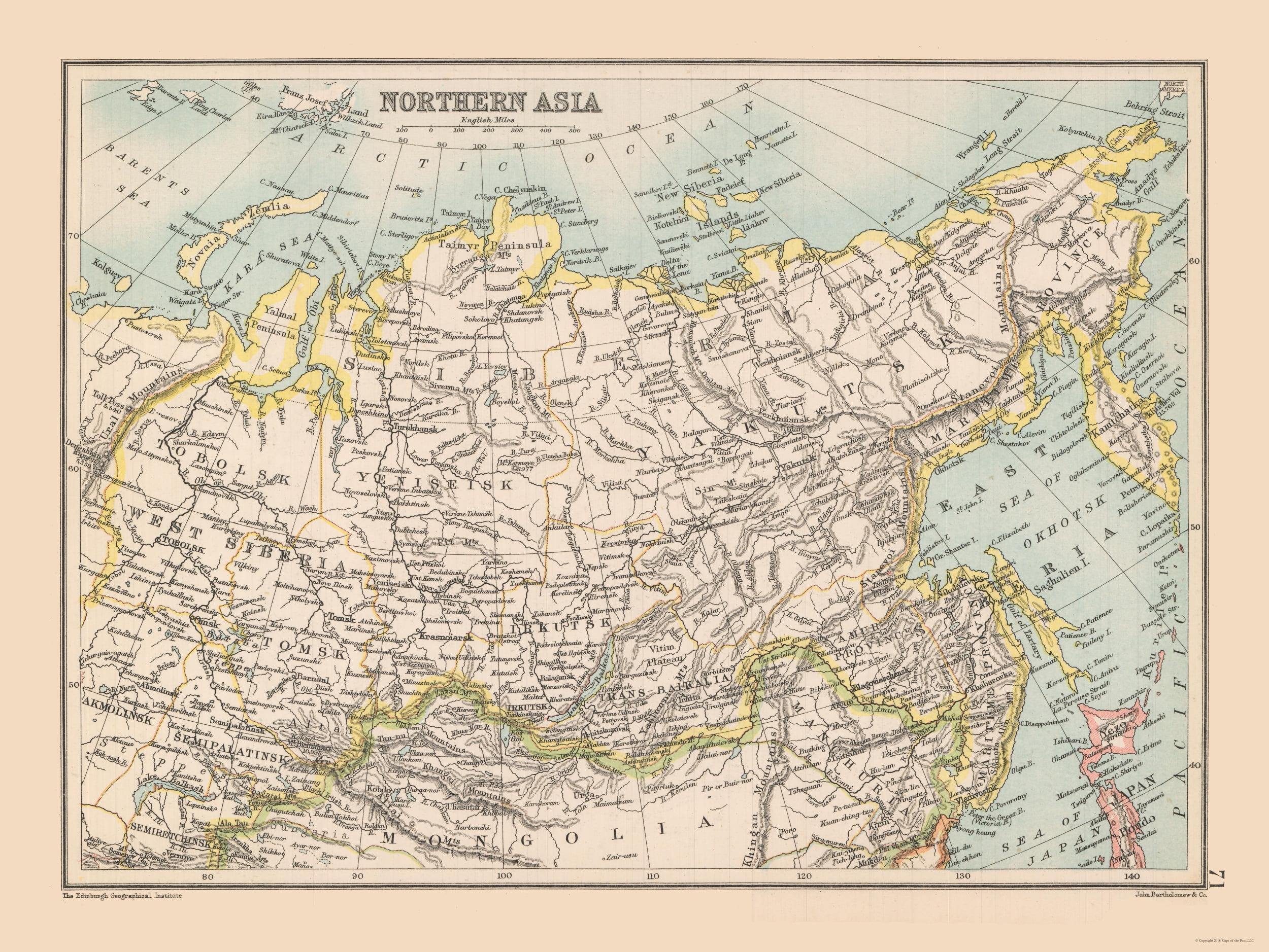 Asia Map Siberia.International Map Siberia Northern Asia Bartholomew 1892