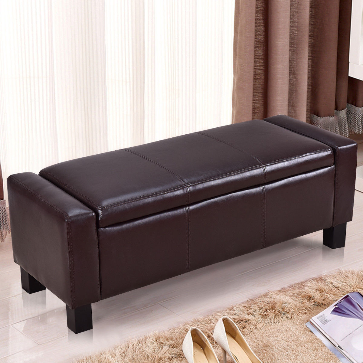 Gymax Brown PU Leather Storage Bench Ottoman Footstool Organizer Chair Home Furniture With Lid by Gymax
