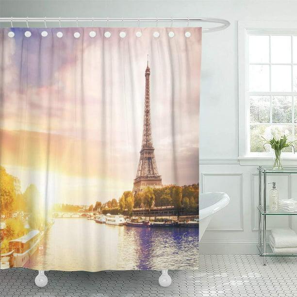 CYNLON Romantic Sunset Background Eiffel Tower Boats on ...