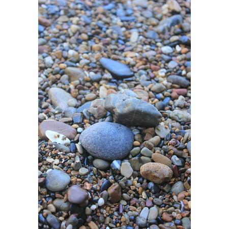 Canvas Print Beach Colorful Stone Natural The Sea Cobblestone Stretched Canvas 10 x 14 (The Beach Natural)