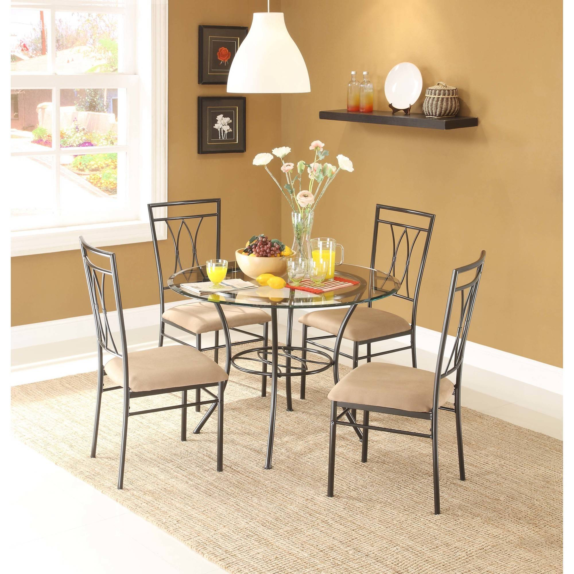 Mainstays Piece Glass And Metal Dining Set Round Tabletop