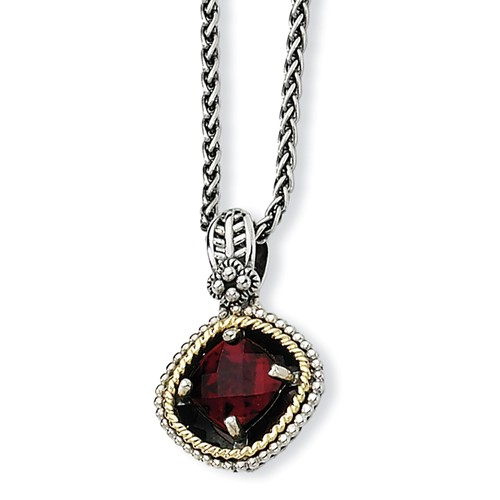 Sterling Silver 2.38ct 14k Yellow Gold 2.38 Garnet 18in Vintage Style Necklace