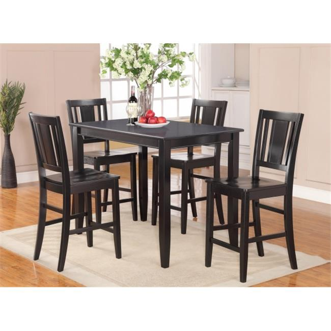 Wooden Imports Furniture BU5-BLK-W 5 PC Buckland Counter Height Table 30 in. x 48 in. & 4 Stools with Wood seat in Black Finish