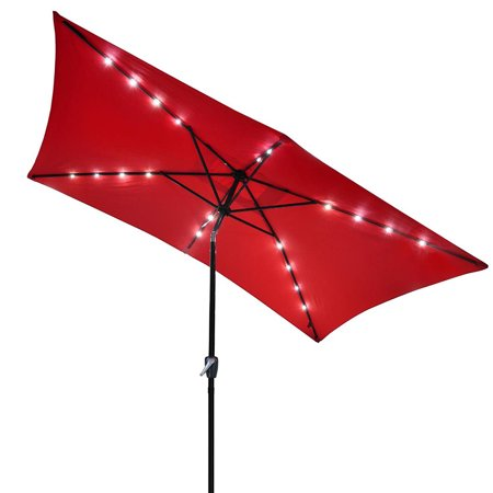 10x6.5ft Rectangle Outdoor Patio Beach Market Aluminium Umbrella w/ Sun Shade Solar Powered Led Light Crank Tilt ()