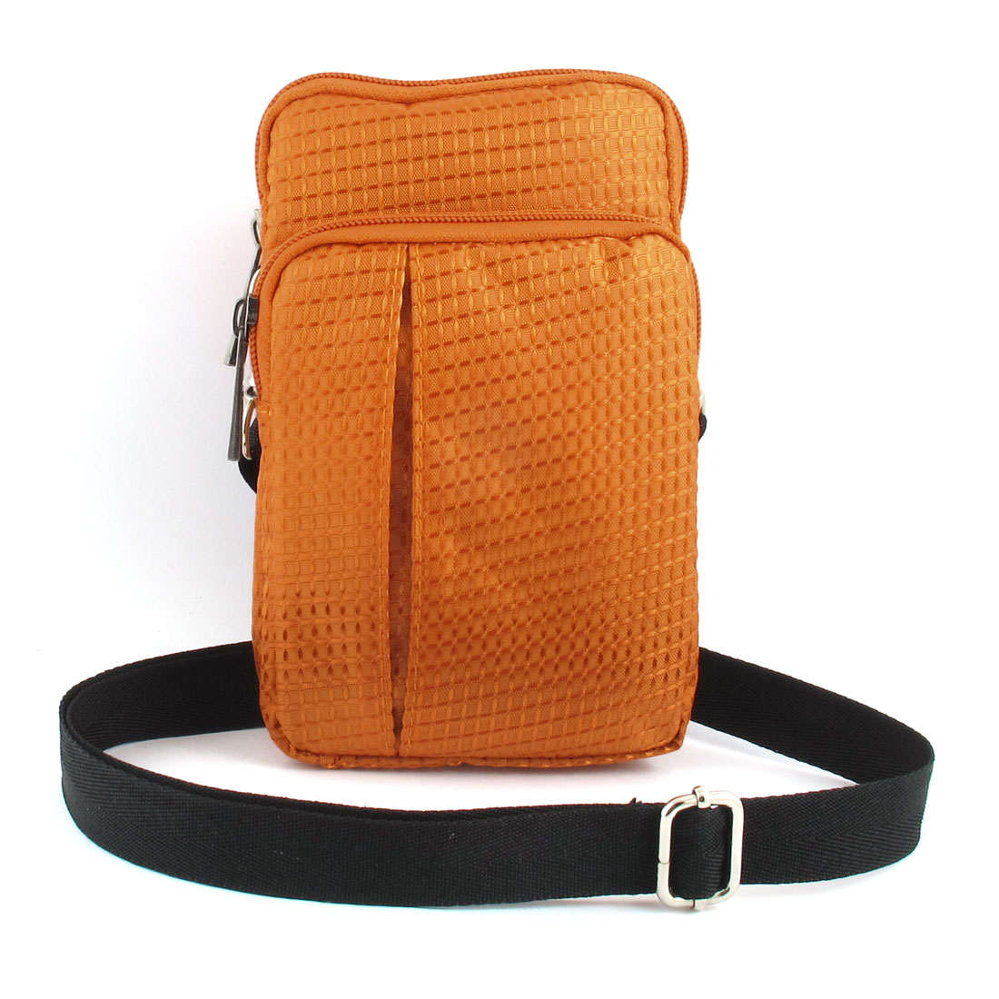 Unique Bargains Portable Checked Vertical Holder Shoulder Bag Pouch Orange for Smartphone MP4