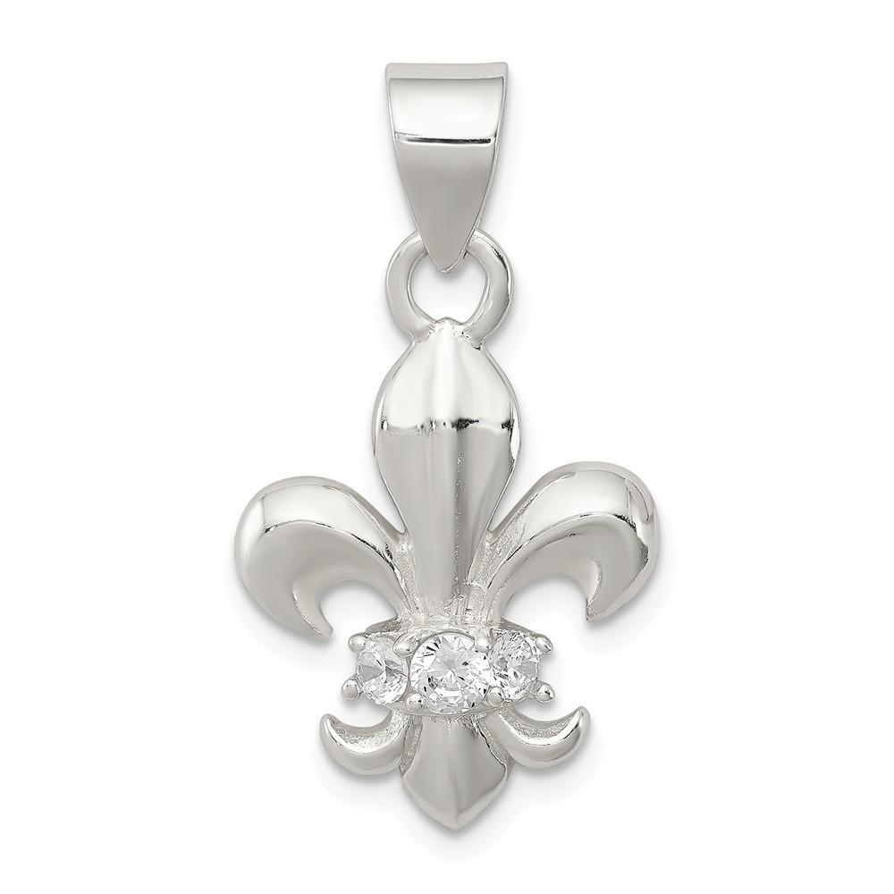 Sterling Silver CZ Fleur De Lis Pendant