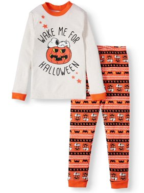 """Peanuts Girls' """"Wake Me Up for Halloween"""" Tight Fit Cotton 2-piece Pajama Set"""