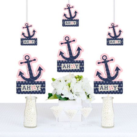 Ahoy - Nautical Girl - Anchor Shaped Decorations DIY Baby Shower or Birthday Party Essentials - Set of 20 - Walmart.com