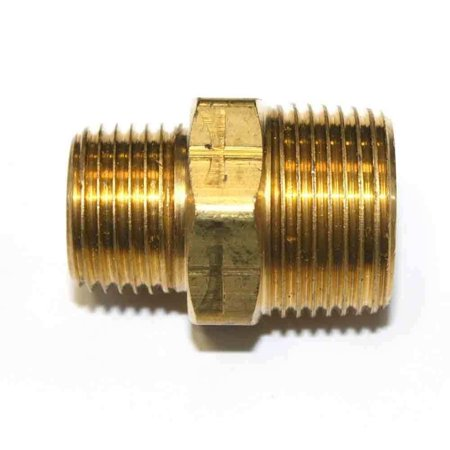 12 Inch Brass Nipple - FA819 1/2 Inch x 3/4 Inch NPT Male Brass Hex Nipple Reducer, Threads: 1/2 inch x 3/4 inch NPT Male - Machined (Provides seal tight threads) By Interstate Pneumatics