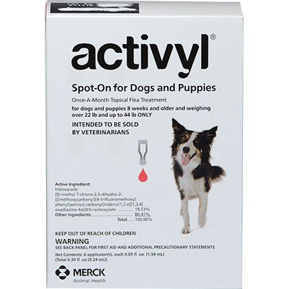 Intervet Activyl for Dogs - 6 Month Supply (22-44 lbs)