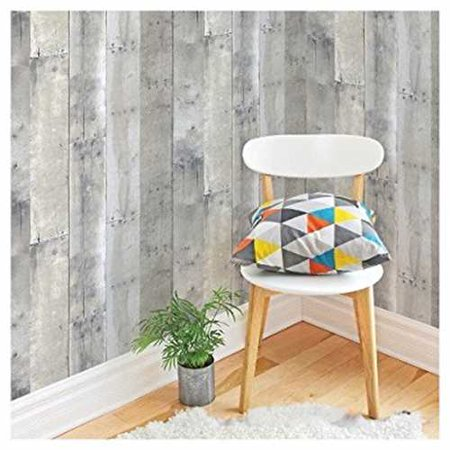 Devine Color Peel And Stick Wallpaper Reclaimed Wood Pattern   Mirage Grey