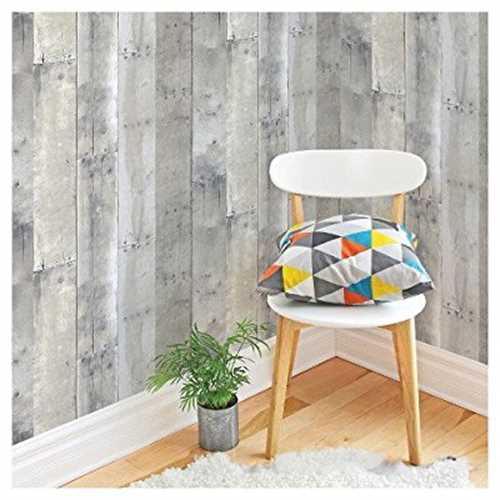 Devine Color Peel And Stick Wallpaper Reclaimed Wood Pattern Mirage Grey Walmart Com Walmart Com