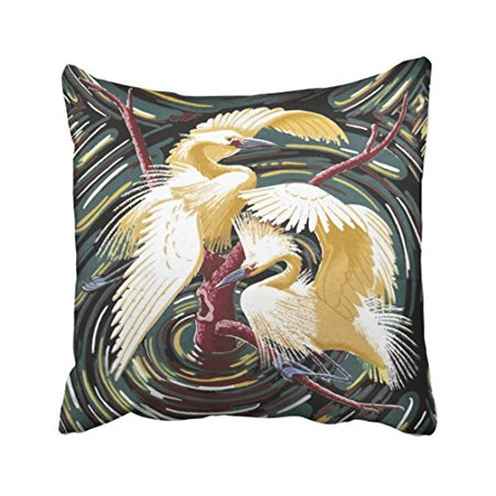 Gorgeous Vintage Resin (WinHome Color Watercolor Egrets Vintage Gorgeous Barkcloth Design Polyester 18 x 18 Inch Square Throw Pillow Covers With Hidden Zipper Home Sofa Cushion Decorative Pillowcases)