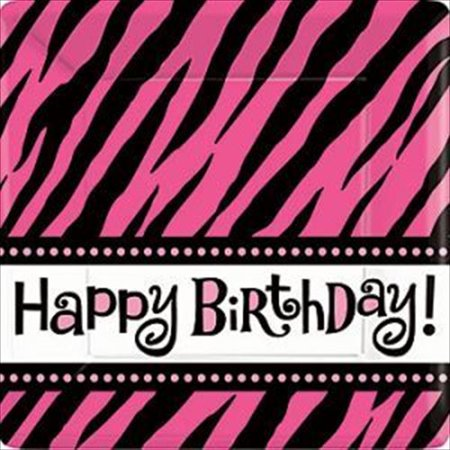 Zebra Stripes 'Pink and Black' Animal Print 'Happy Birthday' Large Paper Plates (8ct)