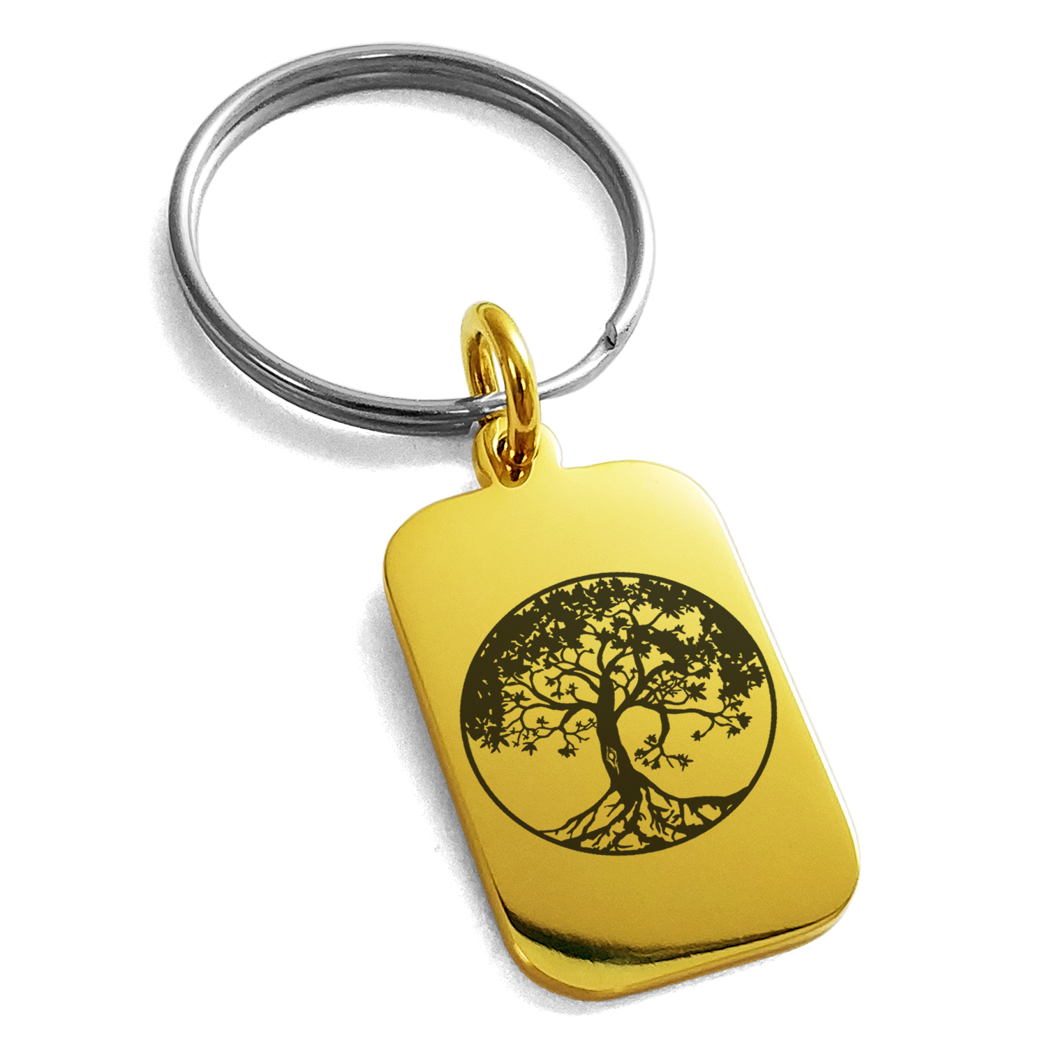 Stainless Steel Tree of Life Engraved Small Rectangle Dog Tag Charm Keychain Keyring