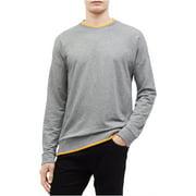 Calvin Klein Men's Tipped Collar Long Sleeve Crew Neck Sweater Shirt