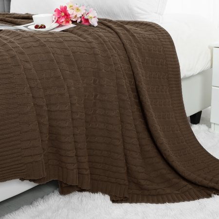 Super Soft Warm 100% Cotton Cable Knit Throw Blanket for Sofa Couch Bedding Home  Brown 47 x 70 Inch
