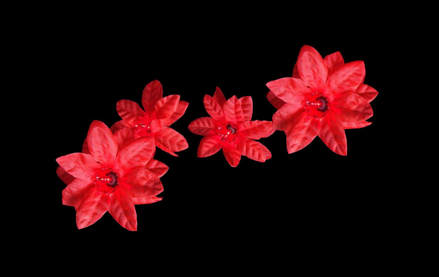 Set of 20 Red Poinsettia Holiday Flower Christmas Lights - Green ...