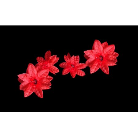 set of 20 red poinsettia holiday flower christmas lights green wire - Flower Christmas Lights