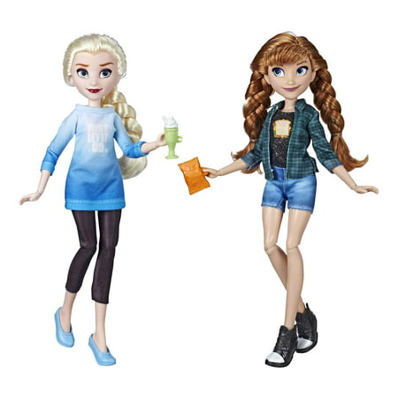 Disney Princess Ralph Breaks the Internet Movie Dolls, Elsa and Anna (Tiny Disney Princess Doll)