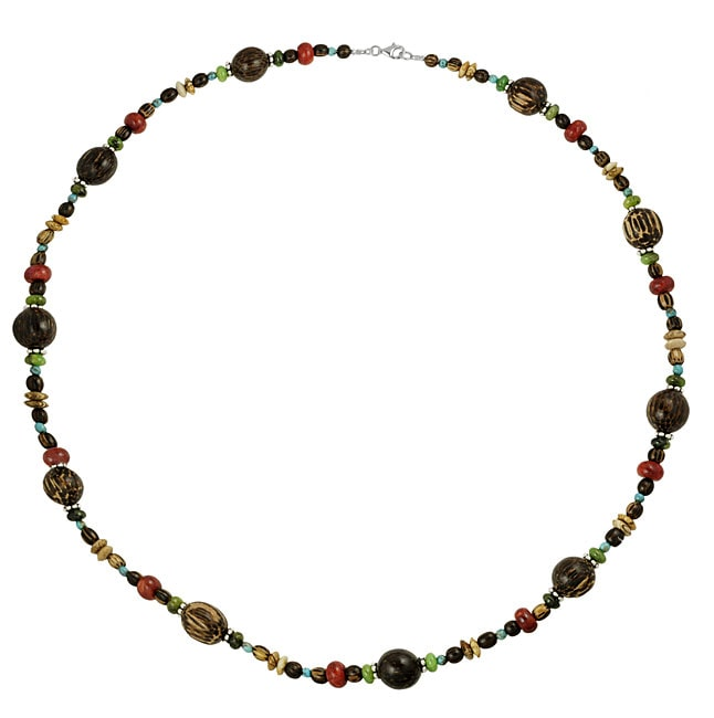 Journee Collection  Sterling Silver Multicolor Bead Necklace