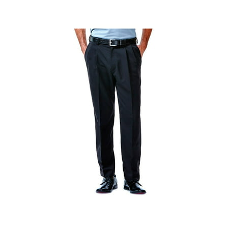 Haggar Men's Cool 18® Solid Pleat Front Pant Classic Fit 41114529486 ()