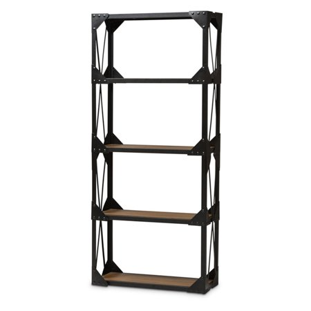 Baxton Studio Hudson Rustic Industrial Style Antique Black Textured Finished Metal Distressed Wood Tall Shelving