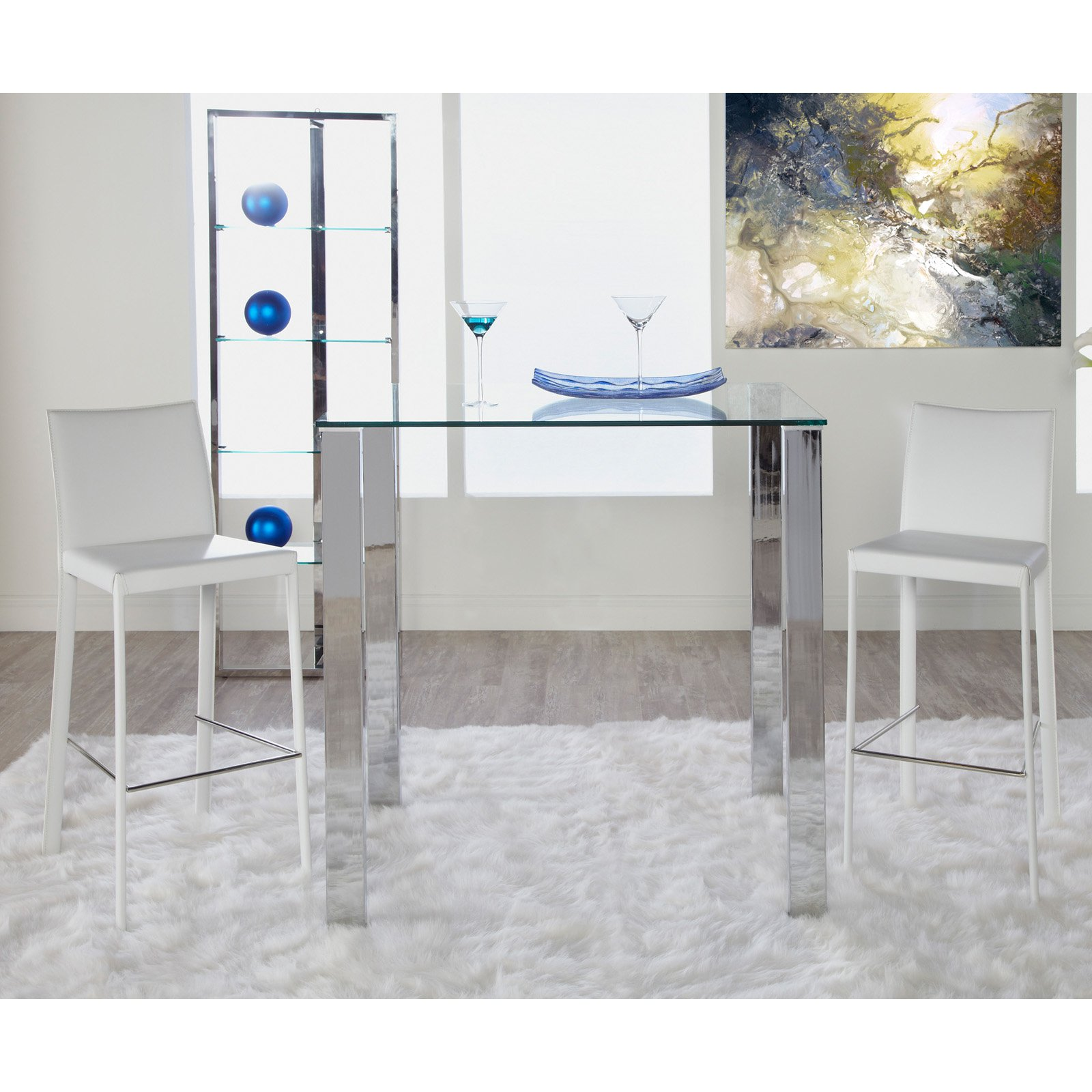 Euro Style Beth Glass Top Pub Table