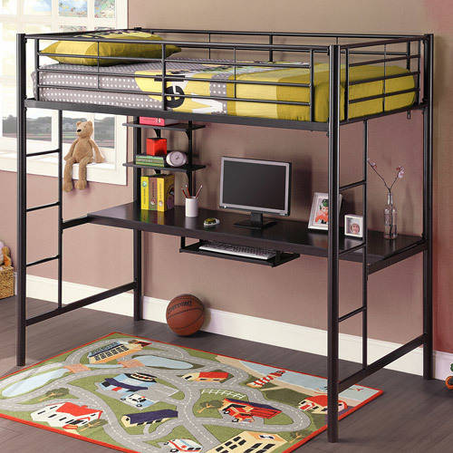 Twin Over Workstation Metal Bunk Bed, Black