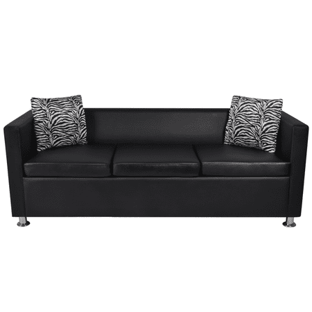- Anself Artificial Leather 3-Seater Sofa Black
