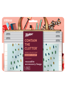 Ziploc Brand Boho Collection Skinny Stuff Accessory Bags, 5 Bags