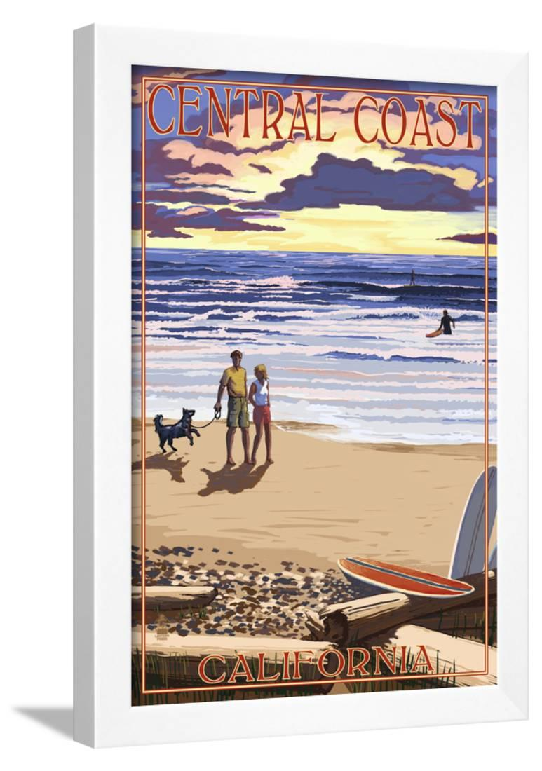 central coast california beach scene and surfers framed print wall art by lantern press. Black Bedroom Furniture Sets. Home Design Ideas