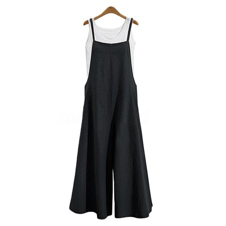 UKAP Womens Baggy Wide Leg Jumpsuit Cotton Linen Overalls Harem Pants Casual Rompers