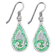 """Bar V Western Women Earrings Inlaid Teardrops Dangle 1"""" 311-291"""