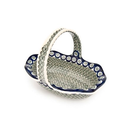 - Polish Pottery Peacock Swirl Basket