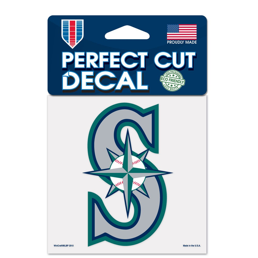 Seattle Mariners Official MLB 4 inch x 4 inch  Die Cut Car Decal by Wincraft