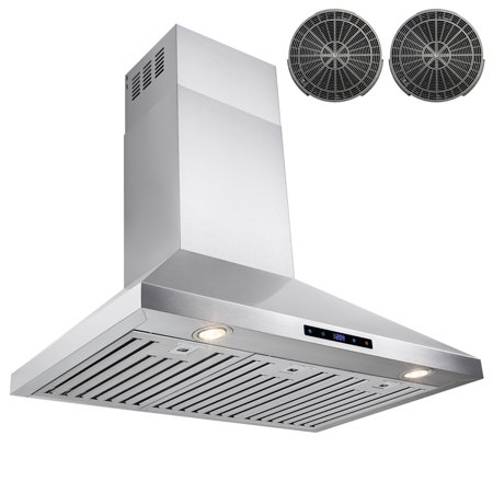 AKDY 36 in. Kitchen Wall Mount Range Hood in Stainless Steel with Touch Control Panel and Carbon -