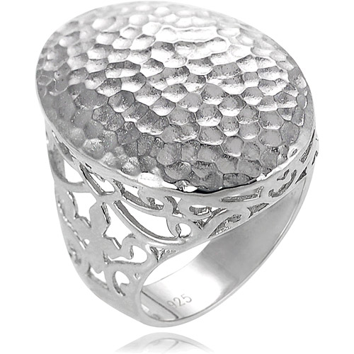Brinley Co. Sterling Silver Hammered Oval Ring