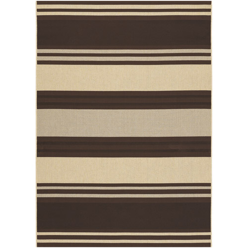 "Key West Indoor/Outdoor Rug, 3'7"" x 5'5"", Chocolate-Cream"
