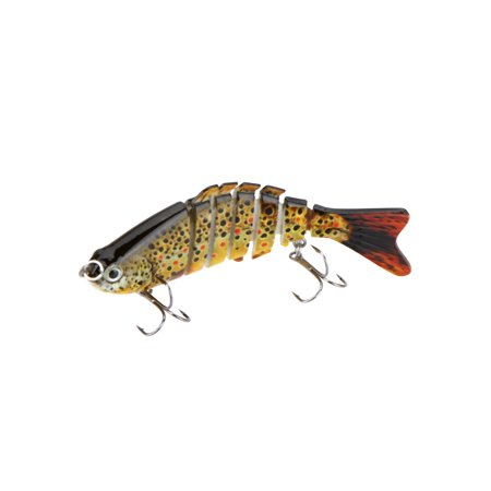 "100mm 13g 3.9"" 7 Segments Multi-Jointed Hard Fishing Lure Life-like Swimbait Crank Bait 2 Treble VMC Hooks thumbnail"