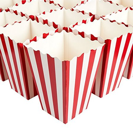 Set of 100 Popcorn Favor Boxes - Paper Popcorn Containers, Popcorn Party Supplies for Movie Nights, Movie-Themed Parties, Carniv